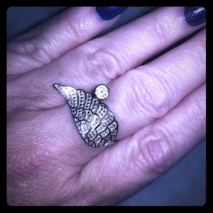 Sterling Silver Angel Wing Adjustable Ring.